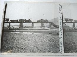 GRÈCE - Guerre 14-18 En  Macédoine - Trains Sur Pont De La Stroumitsa Détruit - Plaque De Verre Stéréo 6x13 - BE - Diapositiva Su Vetro