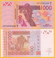 West African States 1000 Francs Togo (T) P-815T 2013 UNC Banknote - West-Afrikaanse Staten