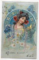 Illustrateur ??--1905--Portrait De Femme Avec Fleurs Et Papillon - Illustratori & Fotografie