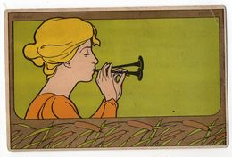 """Art Nouveau--illustrateur  H. Meunier (non Signée)--Portrait De Femme """"Roseau--Musique""""-carte Précurseur - 1900-1949"""