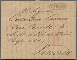 """Österreich - Vorphilatelie: 1831, Grauschwarzer Ovalstempel """"V TRIEST"""" Auf Komplettem Faltbrief An D - Autriche"""