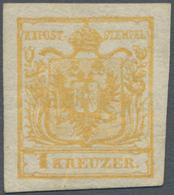 Österreich: 1850, 1 Kreuzer Gelbocker, Handpapier Type III, Allseits überrandig, Ungebraucht Mit Vol - 1850-1918 Empire