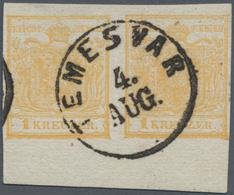 Österreich: 1850, 1 Kreuzer Orangeocker, Handpapier Type Ia, Im Waagerechten Randpaar, Entwertet Mit - 1850-1918 Empire