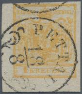 Österreich: 1850, 1 Kreuzer Ockerorange, Handpapier Type III, Kurzes Linkes Unteres Eckrandstück, En - 1850-1918 Imperium