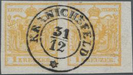 Österreich: 1 Kr. Ockergelb, Type III Auf Handpapier, Waagerechtes Luxus-Paar, Enorm Farbfrisch Und - 1850-1918 Empire