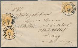 Österreich: 1850, 1 Kreuzer Orangeocker Type Ia MeF - 3 Stück Entwertet Mit K1 ELBEKOSTELETZ (Müller - 1850-1918 Empire