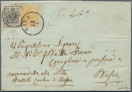 Österreich: 1850, 1 Kreuzer Orange Und 2 Kr Grau (dunklere Nuance) Entwertet Mit K1 RIVA Auf Kpl. Fa - 1850-1918 Empire