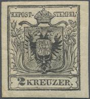 Österreich: 1850, 2 Kr Schwarz, Type IIIa Auf Handpapier In Ungebrauchter Ausnahmeerhaltung, Voller - 1850-1918 Imperium