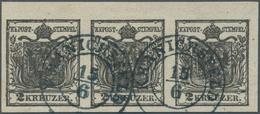 Österreich: 1850, 2 Kr Tiefschwarz, Handpapier, Type Ib, Waagerechter Dreierstreifen Mit 4,5 Mm Ober - 1850-1918 Empire