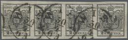 Österreich: 1850, 2 Kreuzer Schwarz, Handpapier Type I, Waagerechter Viererstreifen Mit Wasserzeiche - 1850-1918 Empire