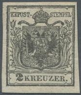 Österreich: 1850, 2 Kr Grauschwarz, Type Ia Auf Handpapier In Ungebrauchter Ausnahmeerhaltung, Volle - 1850-1918 Empire