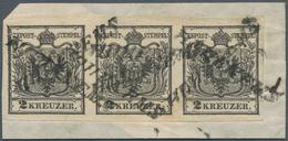 Österreich: 1850, 2 Kreuzer Schwarz, Handpapier Type Ia, Waagerechter Dreierstreifen, Farbfrisch, Al - 1850-1918 Imperium