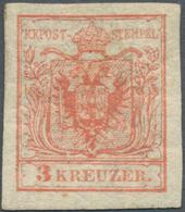 Österreich: 1850, 3 Kr Rot, Type IIIa Auf Handpapier, Ungebraucht Mit Etwas Getöntem, Typisch Gespru - 1850-1918 Empire