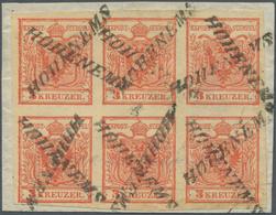 Österreich: 1850, 3 Kr Karminrot, Handpapier Type I A1, Waagerechter 6er-Block, Allseits Breitrandig - 1850-1918 Empire