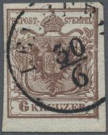 Österreich: 1850, 6 Kr Braun Type I B Auf Geripptem Handpapier. Die Marke Hat Einen Teilabdruck Des - 1850-1918 Imperium
