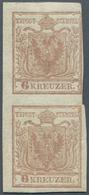 Österreich: 1850, 6 Kr. Rosabraun HP Type Ib Im Senkrechten Paar Dabei Die Obere Marke Am Rechten Ra - 1850-1918 Imperium