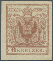 Österreich: 1850, 6 Kreuzer Rostbraun, Handpapier Type I C, Oben Und Rechts Breitrandig, Links Und U - 1850-1918 Empire