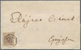 """Österreich: 1850: 6 Kreuzer Braun, Handpapier Type III, Linien-Durchstich 14 (sogenannter """"Tokayer D - 1850-1918 Empire"""