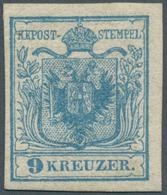 Österreich: 1850, 9 Kr Himmelblau, Type I Auf Handpapier In Ungebrauchter Prachterhaltung, Frischer - 1850-1918 Empire