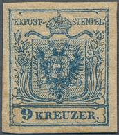 Österreich: 1850, 9 Kr. Blau, Handpapier, Farbfrisches Und Allseits Breitrandiges Examplar Mit Natür - 1850-1918 Empire