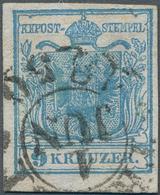 Österreich: 1850, ERSTTAG, 9 Kr. Blau Handpapier Type I, Farbfrisches Exemplar, Allseits Voll- Bis B - 1850-1918 Empire