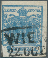 Österreich: 1850, 9 Kreuzer Dunkelblau, Handpapier Type II C, Mit Großer Druckauslassung Der Linken - 1850-1918 Empire