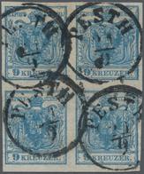 Österreich: 1850, 9 Kreuzer Blau, Dünnes Handpapier 0,065 Mm Im Viererblock, Die Beiden Rechten Mark - 1850-1918 Empire