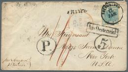 Österreich: 1852, 9 Kreuzer Blau, Allseits Voll- Bis Breitrandig Als Einzelfrankatur Auf Teilfranco- - 1850-1918 Empire
