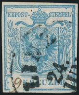 Österreich: 1850, 9 Kr. Hellblau (Handpapier, Type I, Rechts Mit Wasserzeichenteil), Rundum Vollrand - 1850-1918 Empire