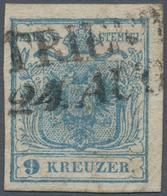 Österreich: 1850, 9 Kreuzer Hellblau, Handpapier Type I, Mit Weitestem Abstand 1,2 Mm Zwischen Der Z - 1850-1918 Empire
