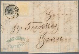 Österreich: 1854, 1 Kreuzer Goldgelb MiF Mit 2 Kreuzer Tiefschwarz Entwertet Mit übergehendem K1 PES - 1850-1918 Empire