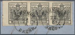 Österreich: 1850/1854, 2 Kreuzer Tiefschwarz, Maschinenpapier Type IIIb, Waagerechter Dreierstreifen - 1850-1918 Imperium