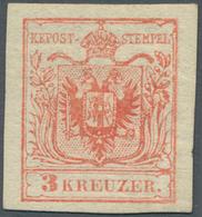 Österreich: 1850, 3 Kr Karminrot, Type IIIa Auf Maschinenpapier In Ungebrauchter Top-Erhaltung, Voll - 1850-1918 Imperium
