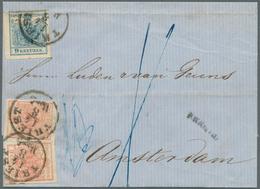 Österreich: 1855, FRANCO - Faltbrief Aus TRIEST14/8 Nach AMSTERDAM 18/8. Frankiert Mit Zweimal 3 Kr. - 1850-1918 Empire