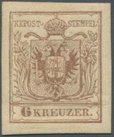 Österreich: 1850, 6 Kr Rosabraun, Type III Auf Maschinenpapier In Ungebrauchter Ausnahmeerhaltung, V - 1850-1918 Empire