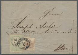 Österreich: 1850/1854, Wappenzeichnung 6 Kreuzer Braun In MISCHFRANKATUR Mit 3 Kreuzer Grün STEMPELM - 1850-1918 Empire
