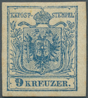 Österreich: 1850, 9 Kr Lebhaftblau, Type IIIb Auf Maschinenpapier In Ungebrauchter Ausnahmeerhaltung - 1850-1918 Imperium