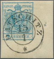 Österreich: 1850, 9 Kr Hellblau, Maschinenpapier Type IIIb, Rechte Untere Bogenecke Mit Besonders Br - 1850-1918 Empire