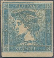 Österreich: 1851, Zeitungsmarke Merkur (0,6 Kr/3 C) Blau Ungebraucht, Repariert, Farbfrisch Und Voll - 1850-1918 Imperium