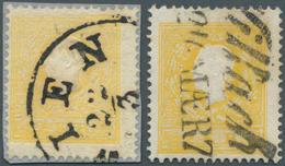 Österreich: 1858, 2 Kr Gelb, Type I Auf Briefstück Mit Teilstempel Wien Sowie 2 Kr Dunkelgelb, Type - 1850-1918 Imperium