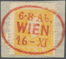 Österreich: 1858, 2 Kreuzer Dunkelgelb, Type I, Entwertet Mit Komplettem, Zentrisch Aufgesetztem Abs - 1850-1918 Empire