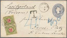 """Ceylon / Sri Lanka: 1893, Envelope QV 5 C. Dull Blue Canc. """"NUWARAELIYA FE 9 (9)3"""" To Davos-Platz/Sw - Sri Lanka (Ceylon) (1948-...)"""
