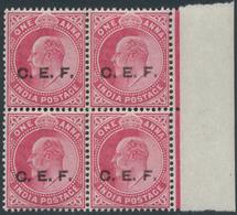 Indien - Indische Polizeitruppen: India, C.E.F., 1905/11, 1 Anna Carmine, A Marginal Block Of 4, Var - Militärpostmarken