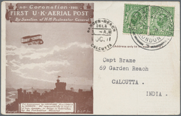 "Indien - Besonderheiten: 1911, INCOMING MAIL-GB, ""FIRST U.K. AIRIAL POST"", Special Event Pictorial P - Ohne Zuordnung"