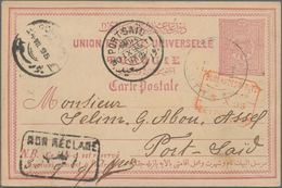"""Libanon: 1895, Turkey 20 Para Postal Stationery Card Tied By """"BEYROUTH"""" Cds., To Port Said Egypt Wit - Libanon"""
