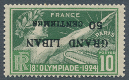 Libanon: 1924, Olympic Games Paris, 50c. On 10c. With INVERTED OVERPRINT, Unmounted Mint. Very Rare! - Libanon