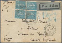 "Libanon: 1939 ""POSTE AUX ARMEES 600"" = BEYROUTH Cds On France 50c Semeuse Lignée (Yvert 362) Bloc Of - Libanon"