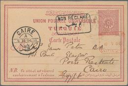 """Palästina: 1896, Turkey 20 Para Postal Stationery Card Tied By """"TABARIYE"""" Cds., To Cairo Egypt With - Palästina"""