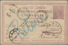"Palästina: 1900, Turkey 20 Para Postal Stationery Card Tied By ""SAFED"" Cds., To VASLUI With Arrival - Palästina"