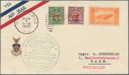 "Philippinen: 1932, 1.8.: FiRst Flight Cover ""ILOILO - MANILA"" Forwarded To Bern, Switzerland. - Philippinen"